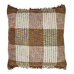 Bee & Willow Home™ Fringe Checkered Square Throw Pillow in Golden