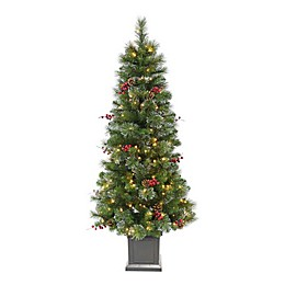 Winter Wonderland 5-Foot Traditional Frosted Berry Style Pre-Lit Artificial Christmas Tree