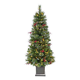5-Foot Traditional Frosted Berry Pre-Lit Christmas Tree