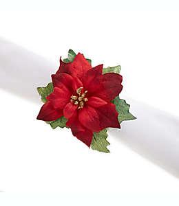 Anillos para servilletas con diseño de flores de noche buena en rojo, Set de 4