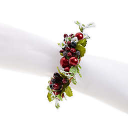 Frosted Holly Berry Wreath Napkin Rings (Set of 4)