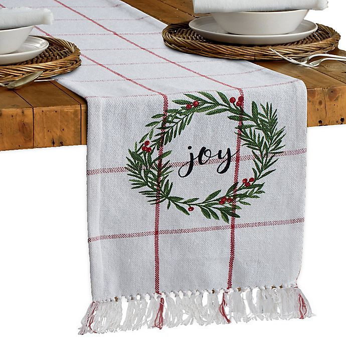 Alternate image 1 for Bee & Willow™ Home Joy Holiday Holly Wreath 90-Inch Table Runner