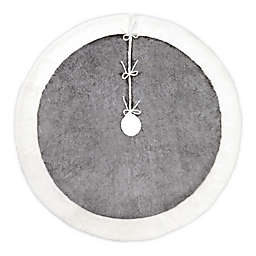 Bee & Willow™ Home Plush Christmas Tree Skirt in Grey/White