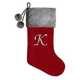 """Knit Monogram Letter """"K"""" Christmas Stocking"""