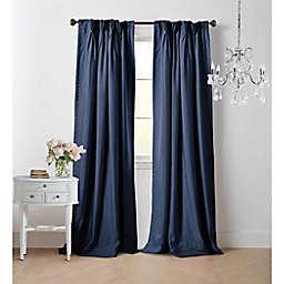 Wamsutta® Vintage Manteux 63-Inch Pinch Pleat Window Curtain Panel in Navy