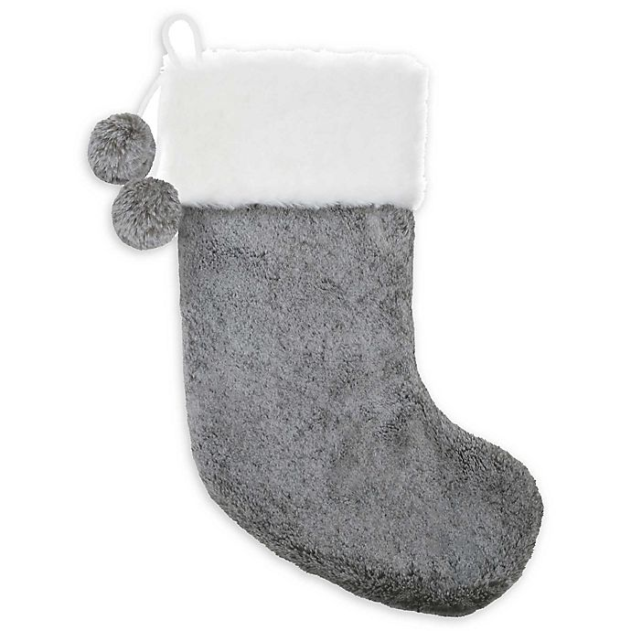 Alternate image 1 for Bee & Willow™ Home Plush Stocking in Grey/White