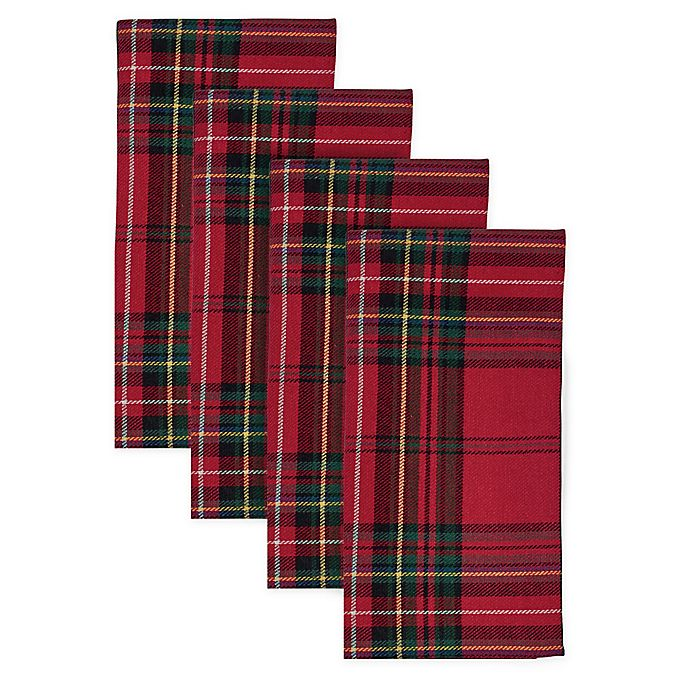 Alternate image 1 for Bee & Willow™ Home Festive Plaid Napkins in Red (Set of 4)