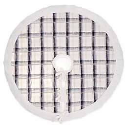 Plaid Woven Cotton Tree Skirt in Blue/Grey