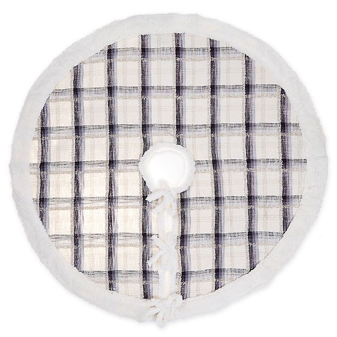 Alternate image 1 for Plaid Woven Cotton Tree Skirt in Blue/Grey