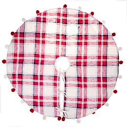 Pom Pom Plaid Woven Cotton Tree Skirt in Red