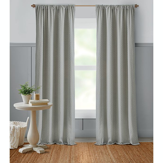 Alternate image 1 for Bee & Willow™ Dotted Lines 84-Inch Window Curtain Panel in Grey (Single)