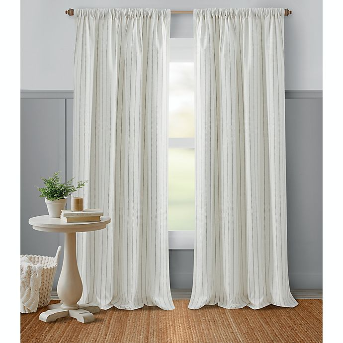 Alternate image 1 for Bee & Willow™ Glimmer Stripe 84-Inch Light Filtering Window Curtain Panel in Grey