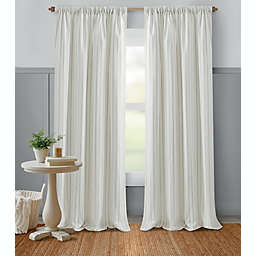 Bee & Willow™ Glimmer Stripe 84-Inch Light Filtering Window Curtain Panel in Grey