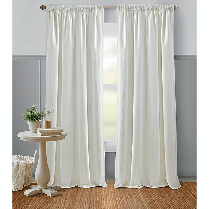 Alternate image 1 for Bee & Willow™ Glimmer Stripe 84-Inch Window Curtain Panel in White (Single)