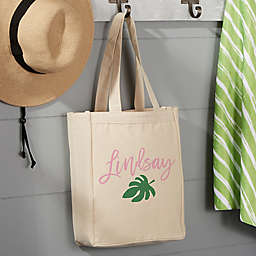 Palm Leaves Small Beach Canvas Tote Bag