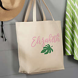 Palm Leaves Large Beach Canvas Tote Bag