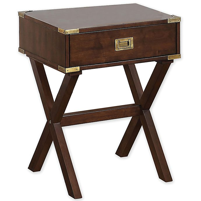 Alternate image 1 for Campaign 1-Drawer Accent Table in Walnut