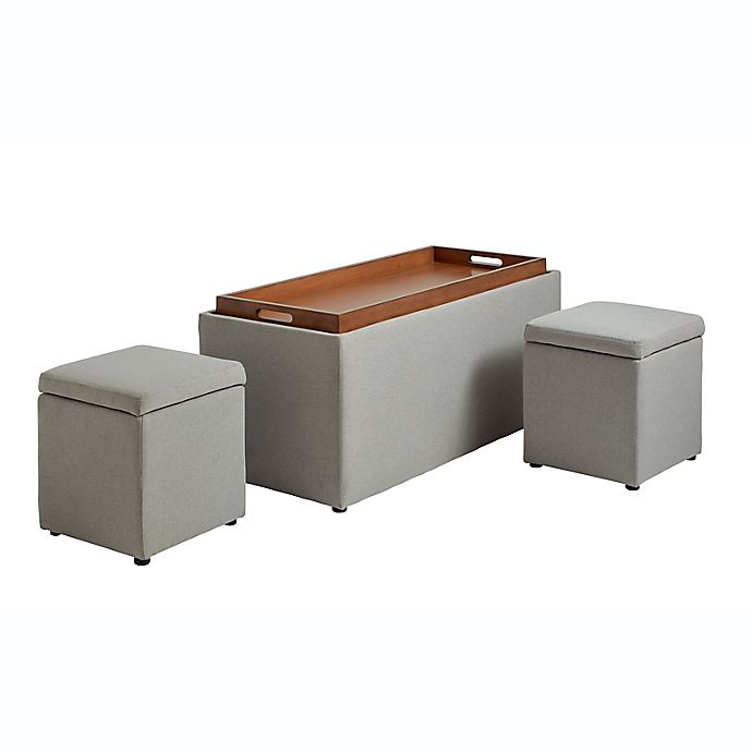 Alternate image 1 for Storage Bench with Tray and 2 Ottomans in Greige