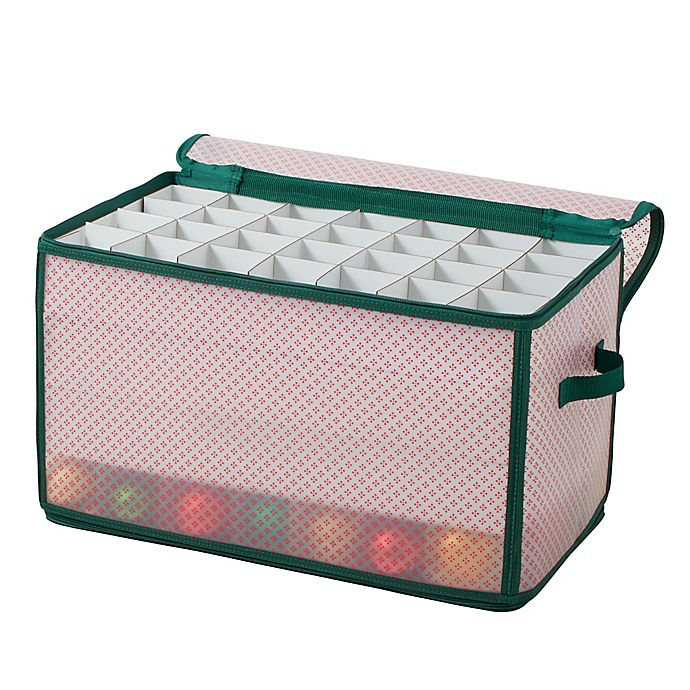 Alternate image 1 for Winter Wonderland 112-Cell Ornament Storage Chest in Red/Green