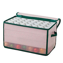 Winter Wonderland 112-Cell Ornament Storage Chest in Red/Green