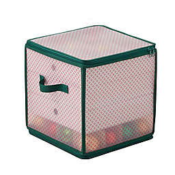 Winter Wonderland 64-Cell Ornament Storage Chest in Red/Green