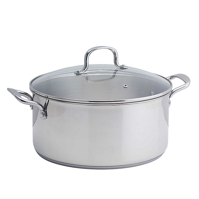 Alternate image 1 for SALT™ 10 qt. Stainless Steel Covered Low Stock Pot