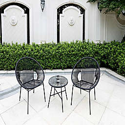 Destination Summer Outdoor String 3-Piece Patio Conversation Set in Black