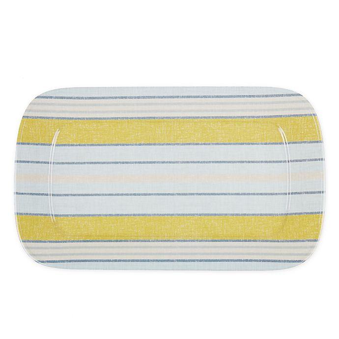 Alternate image 1 for Bee & Willow™ Rectangular Melamine Serving Tray in Linen Stripe