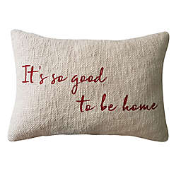 """It's Good To Be Home"" 14-Inch x 20-Inch Oblong Throw Pillow in White/Red"