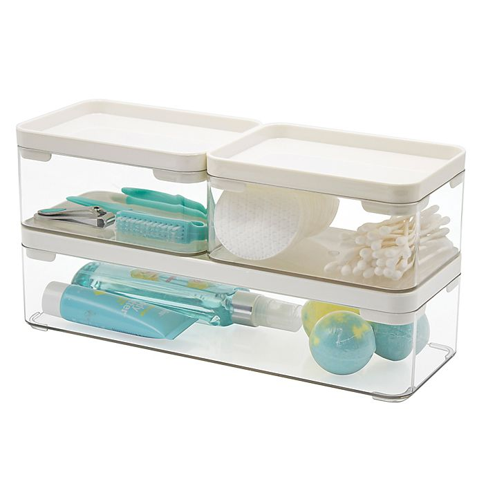 Alternate image 1 for SALT™ Stackable Bath Bins in Clear/White (Set of 3)