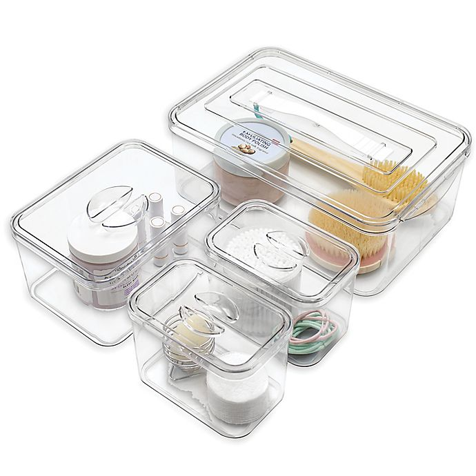 Alternate image 1 for SALT™ Stackable Bath Bins in Clear/White (Set of 4)