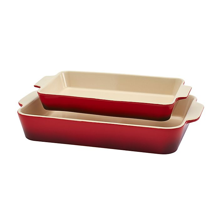 Alternate image 1 for Artisanal Kitchen Supply® 2-Piece Ceramic Rectangular Baker Set in Red