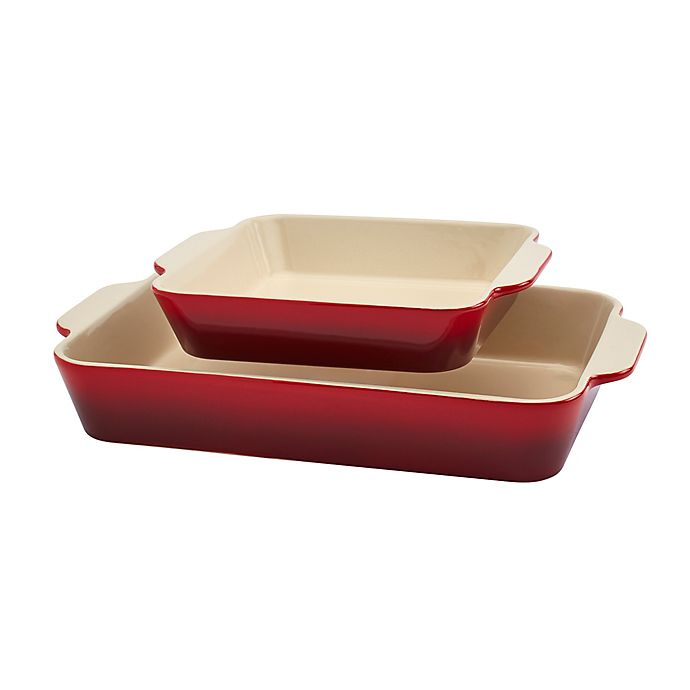 Alternate image 1 for Artisanal Kitchen Supply® 2-Piece Rectangular and Square Ceramic Baker Set