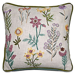 Floral Embroidery Square Throw Pillow