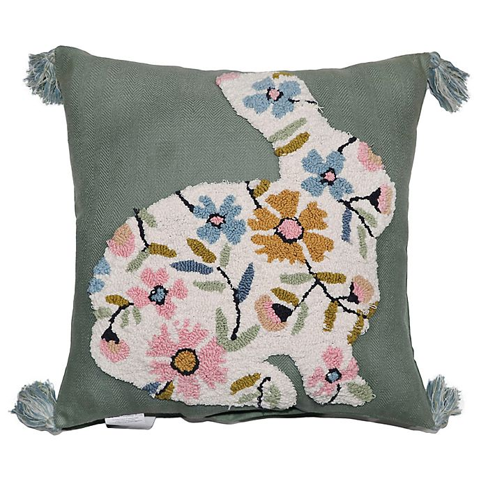 Alternate image 1 for Floral Bunny Embroidered Square Throw Pillow