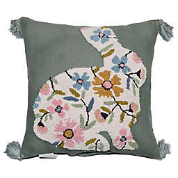 Floral Bunny Embroidered Square Throw Pillow
