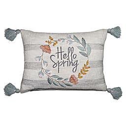 """Hello Spring"" Embroidered Oblong Throw Pillow"