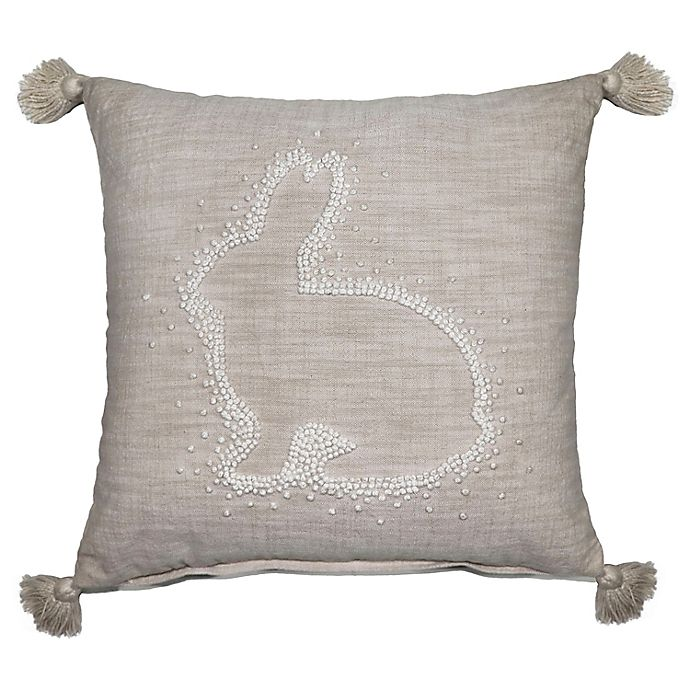 Alternate image 1 for Dot Bunny Embroidered Square Throw Pillow in Ivory