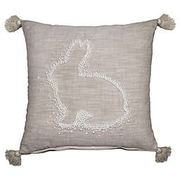 Dot Bunny Embroidered Square Throw Pillow in Ivory