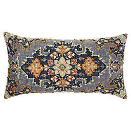 Global Caravan Hand Embroidered Floral Oblong Throw Pillow