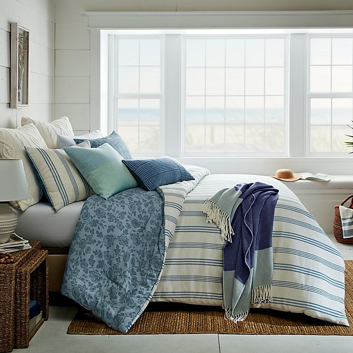 Alternate image 1 for Bee & Willow™ Floral Stripe 3-Piece Reversible Full/Queen Comforter Set in Blue