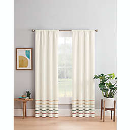 Marmalade™ Pom Pom Stripe Rod Pocket/Back Tabs Blackout Window Curtain Panel