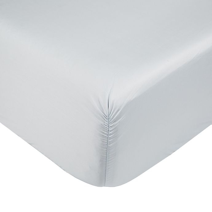 Alternate image 1 for Nestwell™ Cotton Percale 400-Thread-Count Twin Fitted Sheet in Illusion Blue