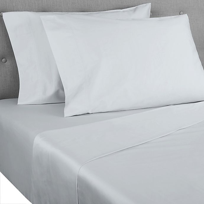 Alternate image 1 for Nestwell™ Cotton Percale 400-Thread-Count Queen Flat Sheet in Illusion Blue
