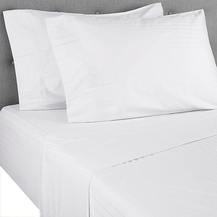 Alternate image 1 for Nestwell™ Pima Cotton 500-Thread-Count King Sheet Set in White Stripe