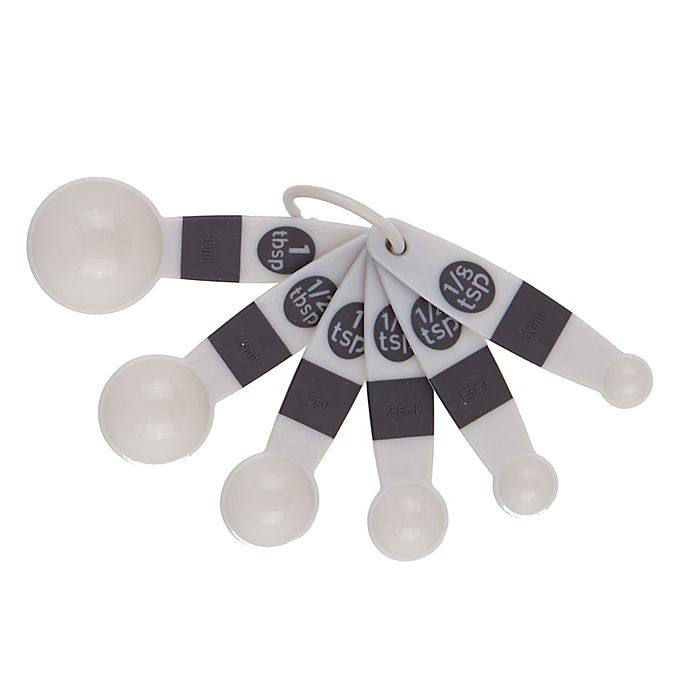 Alternate image 1 for Simply Essential™ Plastic Measuring Spoons in Grey (Set of 6)