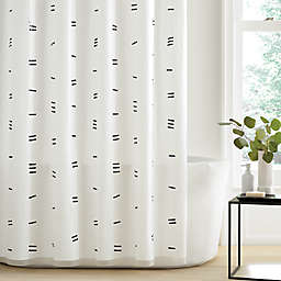 Simply Essential™ Dashed PEVA Shower Curtain in Black/White