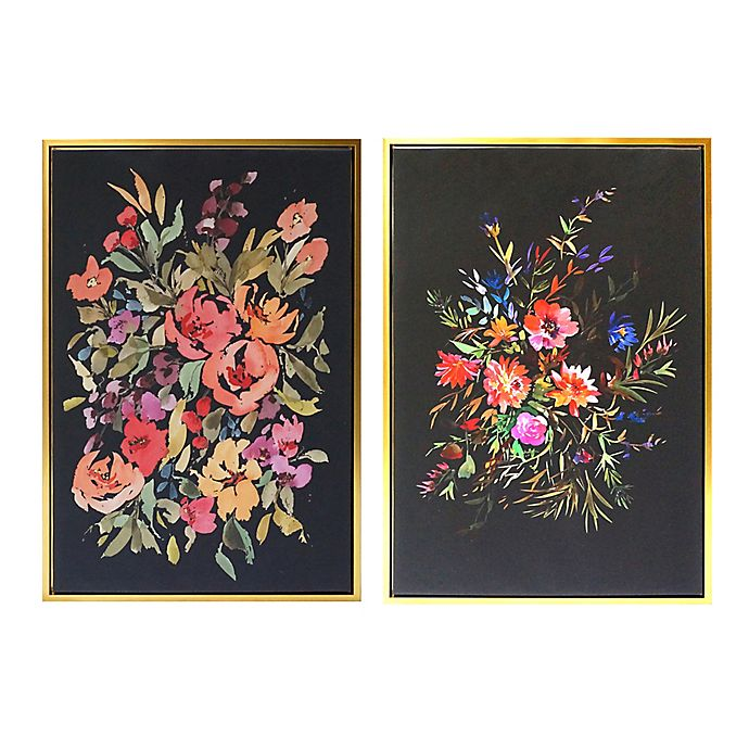 Alternate image 1 for Wild Sage™ Floral 20-Inch x 30-Inch Gold-Framed Canvas Wall Décor (Set of 2)