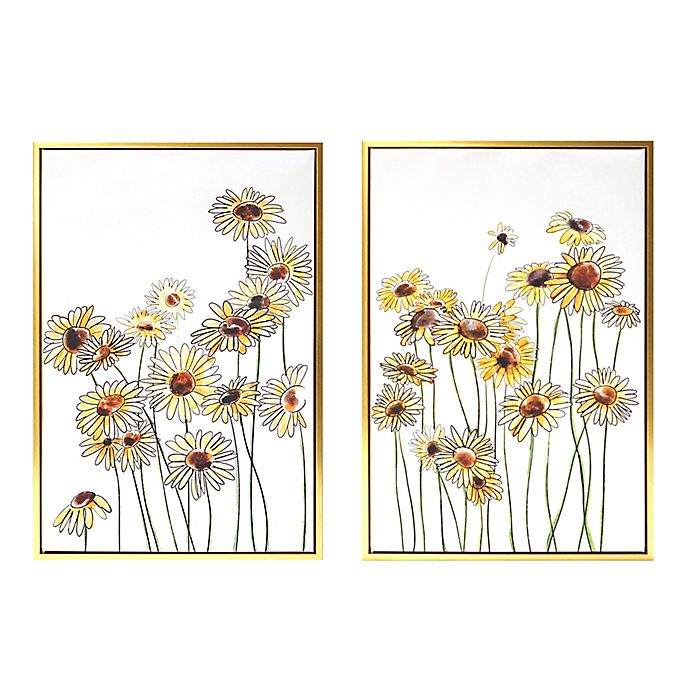 Alternate image 1 for Wild Sage™ Field of Flowers 20-Inch x 30-Inch Gold-Framed Canvas Wall Décor (Set of 2)