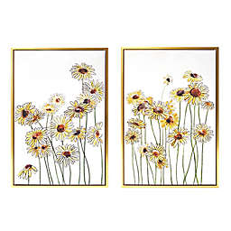 Wild Sage™ Field of Flowers Gold-Framed Canvas Wall Décor (Set of 2)
